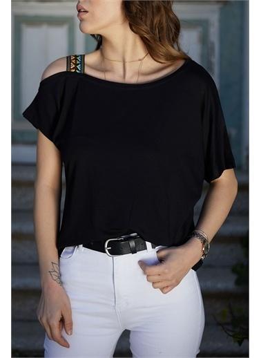 XHAN Omuzu Aksesuarlı Bluz 0Yxk2-43355-20 Siyah